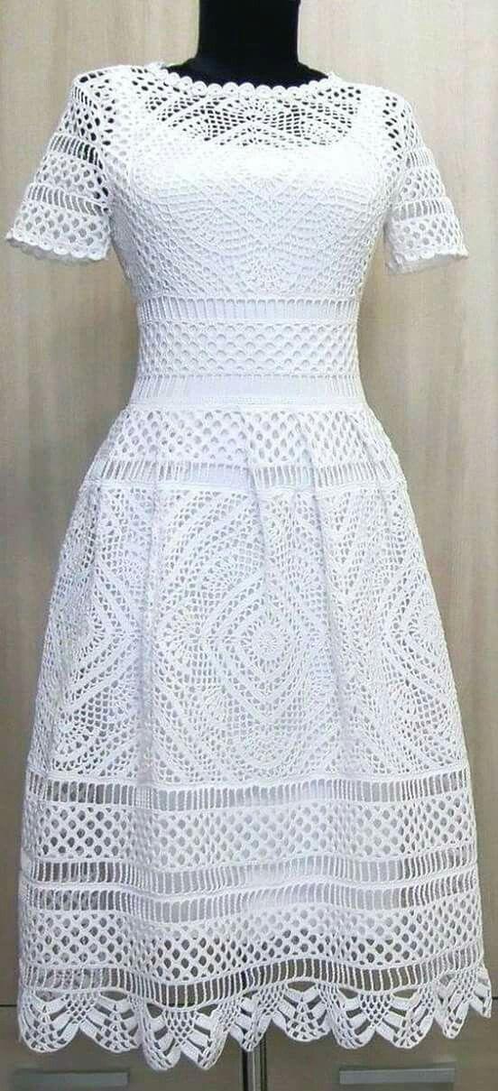 7c6e8a7e3 Cordel, Vestido De Croche Branco, Vestido De Crochê Adulto, Vestido De