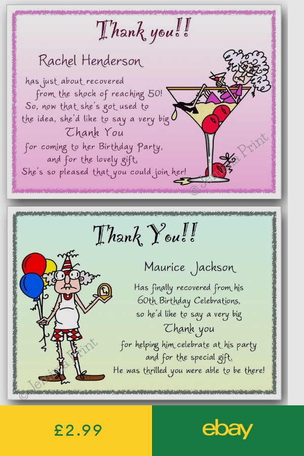 Personalised 40th 50th 60th 70th 80th 90th 100th Birthday Thank You Cards X10 J7 Birthday Thank You Cards Birthday Thank You Your Cards