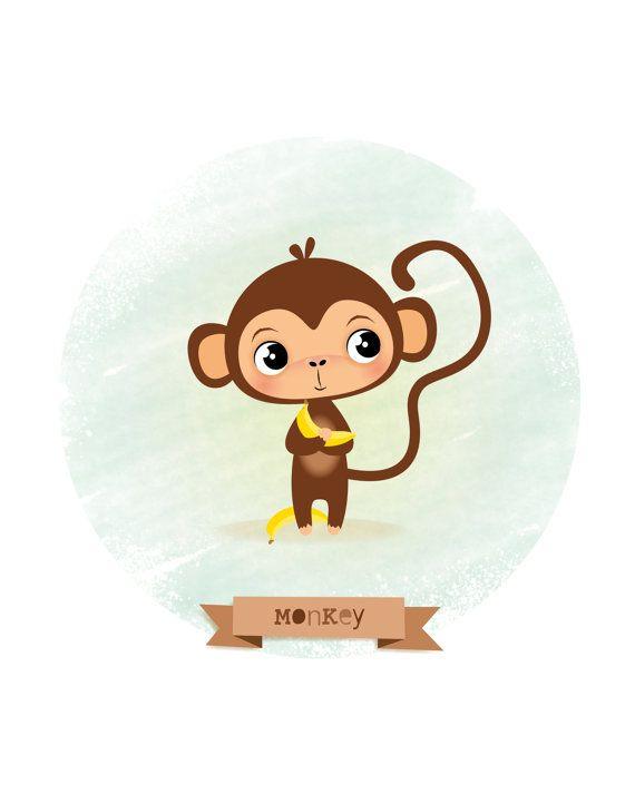 Nursery art Monkey print kids illustration by IreneGoughPrints