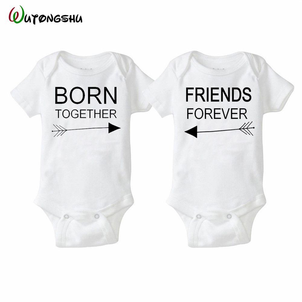 Fashion Summer White Baby Bodysuits 0 12Months Twins Boy Girl Clothes 1st Birthday Gift For Babies Newborn Clothing