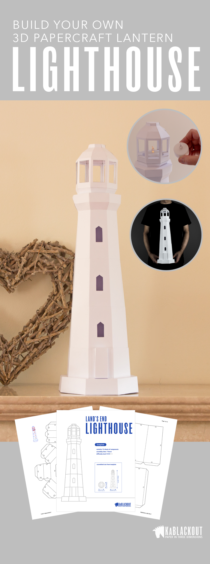 Lighthouse papercraft diy project make your own paper lighthouse make your own paper lighthouse model print cut stick and assemble from pdf template choose your own colour scheme and make some nautical beach decor for pronofoot35fo Choice Image