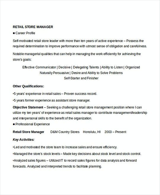 Retail Store Manager Resume Retail Store Manager Resume Template  Professional Manager Resume
