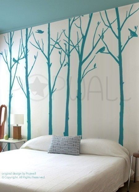 Vinyl Wall Sticker Tree Wall Decal Tree Decal Art   Leafy Winter Trees With  Birds   6 Trees   037. $85.00, Via Etsy.