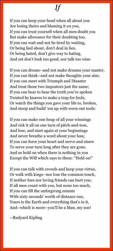 Desventaja pila Sentimiento de culpa  Pin by Judy Scott on quotes | If rudyard kipling, Poems beautiful, Words