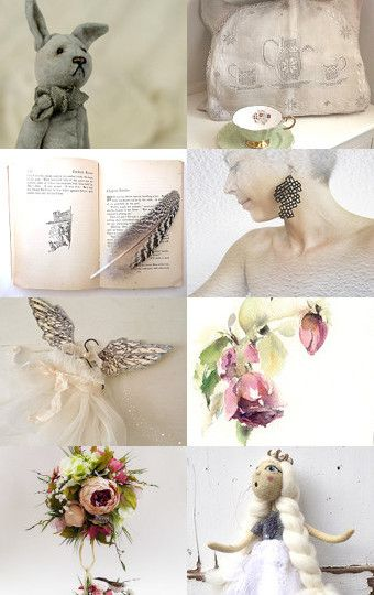 Pale geen and cream by Griselda Tello on Etsy--Pinned with TreasuryPin.com