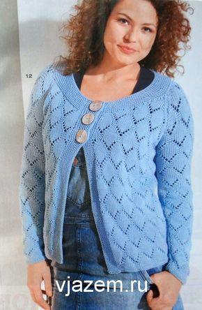 голубой ажурный жакет спицами для полных женщин со схемами Kötés