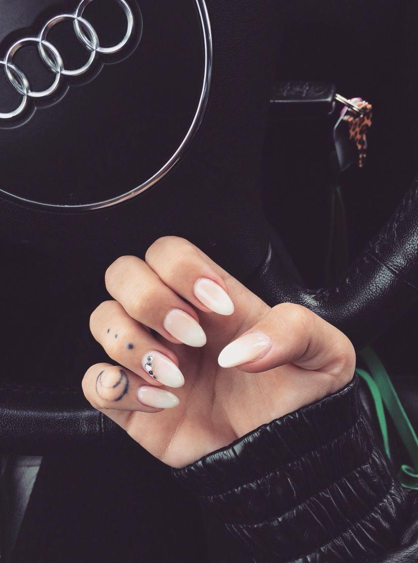 Gel Nails | Nails | Almond Nails | French Fade | Jewels | Nail Art ...