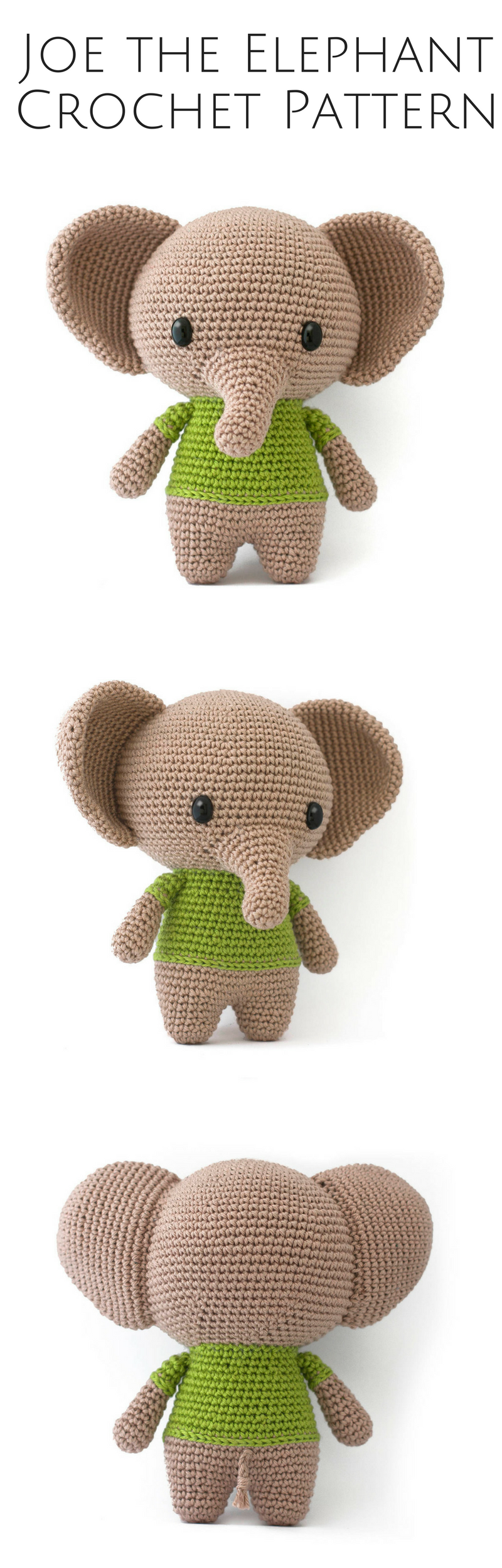 Joe the Elephant amigurumi crochet pattern PDF | Patrones amigurumi ...