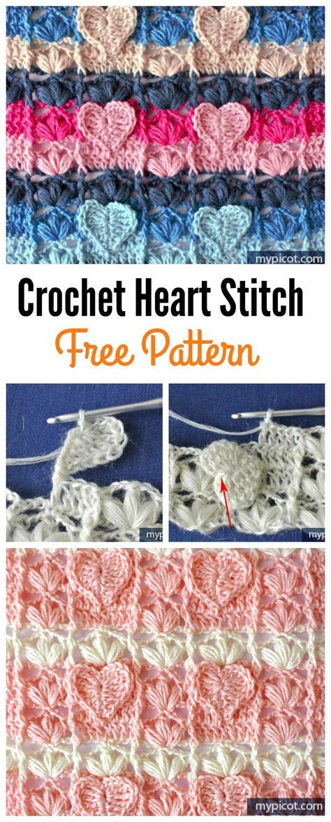 Crochet Heart Stitch Free Patterns | Tejido, Mantas de bebes y ...