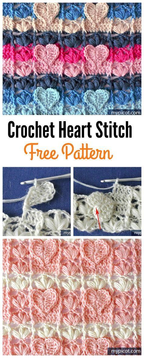 Crochet Heart Stitch Free Patterns | Häkeln, Häkelmuster und Muster