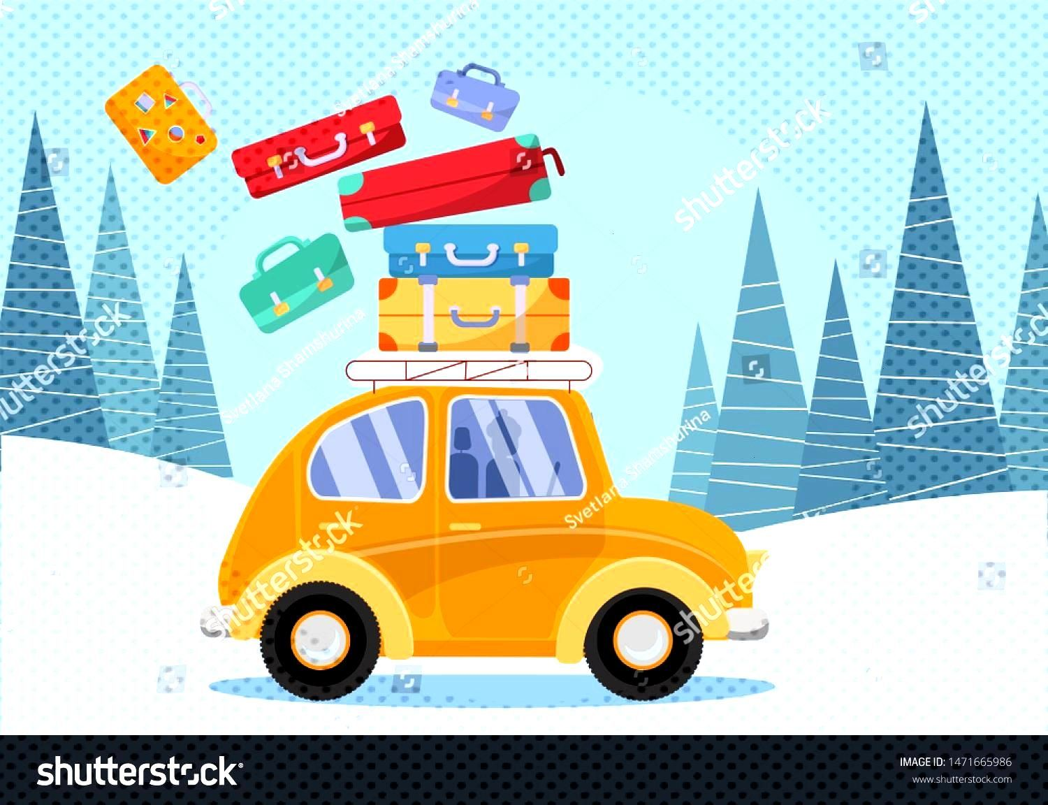 Travel concept. Yellow vintage car with travel suitcases on roof. Winter tourism...#car