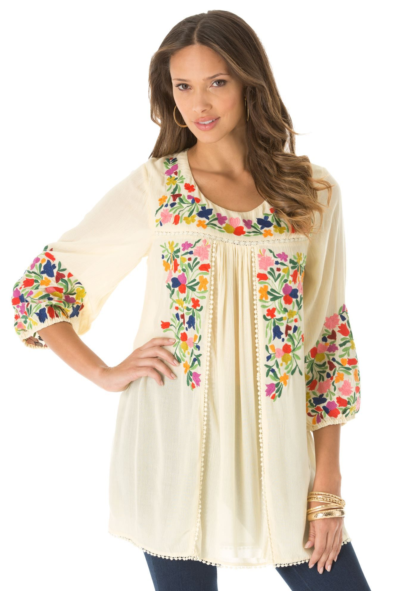 Be Beautifully Bohemian In Our Floral Embroidered Plus