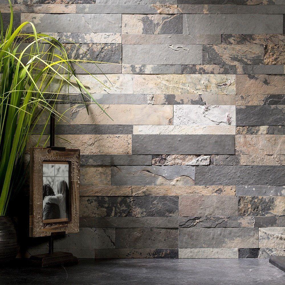Peel And Stick Tile Self Adhesive Stone Slate Wall Kitchen Backsplash Grey Tan 669583679319 Ebay Stone Backsplash Stick On Tiles Backsplash