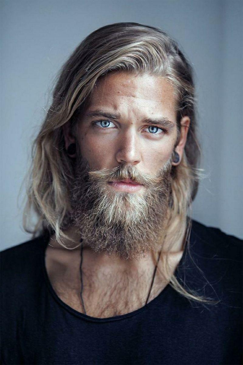 Hipster Bart lange Haare blaue Augen (Görüntüler ile