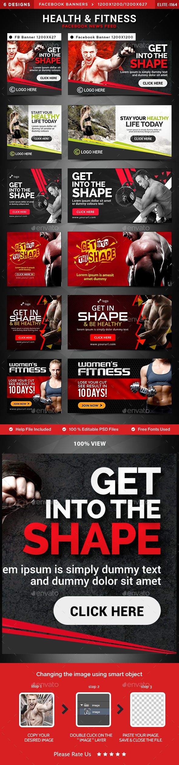 Health & Fitness Facebook Newsfeed Images - 6 Designs   Banners ...