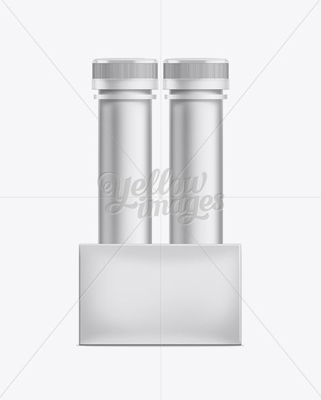 Energy Drink Tubes W/ Box Mockup. Side View