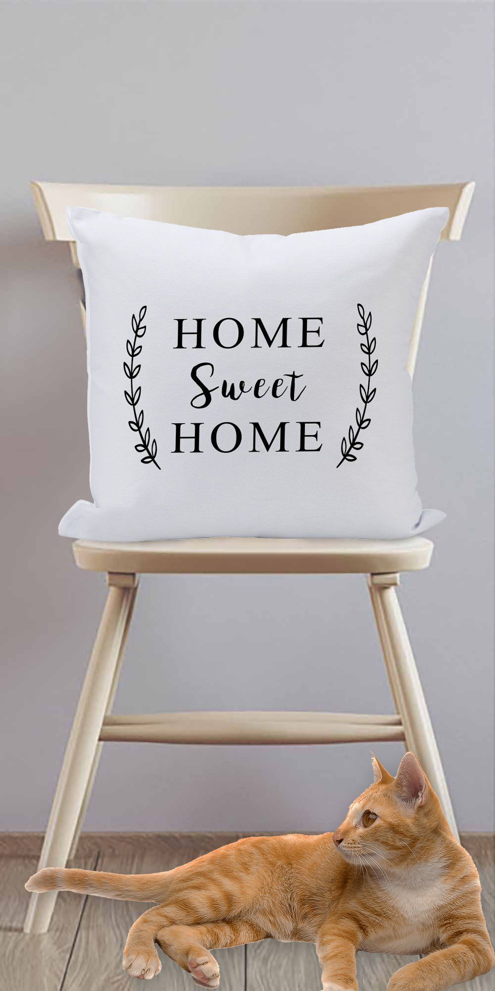 (D) Sofa Throw Pillow, White with Black Letters 'Sweet Home' 16'', Funny Pillow - Default Title