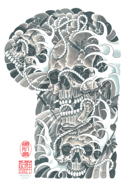 Japanese Skull Waves Sleeve Tattoo Design Tattoo Sleeve Designs Wave Tattoo Design Sleeve Tattoos