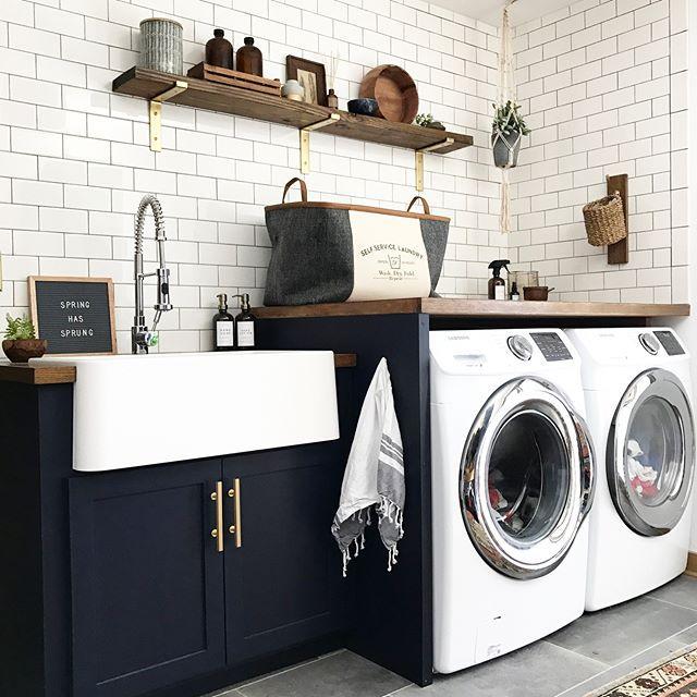 Modern Navy Laundry Room Reveal Brepurposed Stylish Laundry Room Laundry Room Design Laundry Room Inspiration