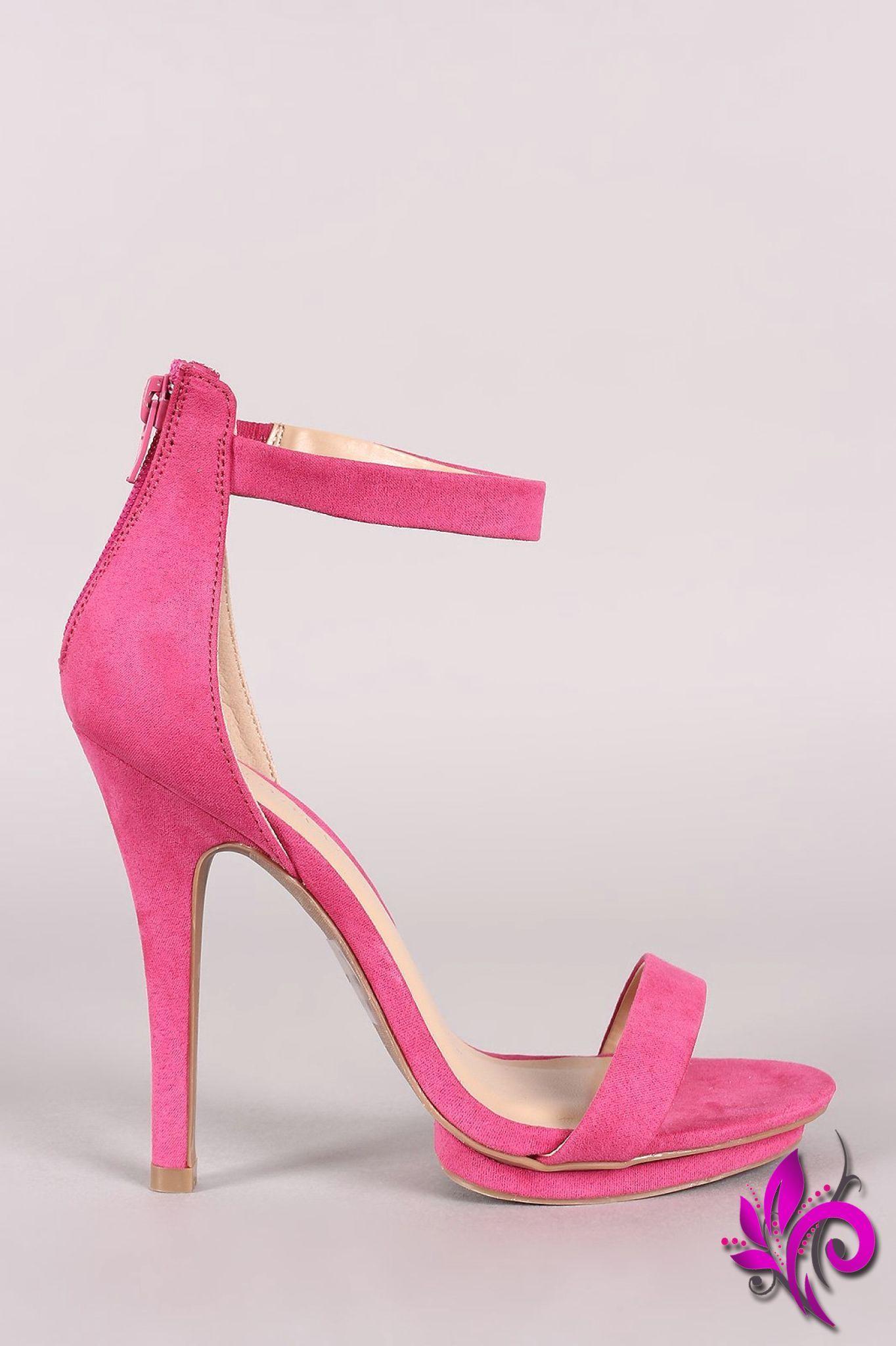 4a46d9b795d Wild Diva Lounge Suede Ankle Strap Stiletto Heel