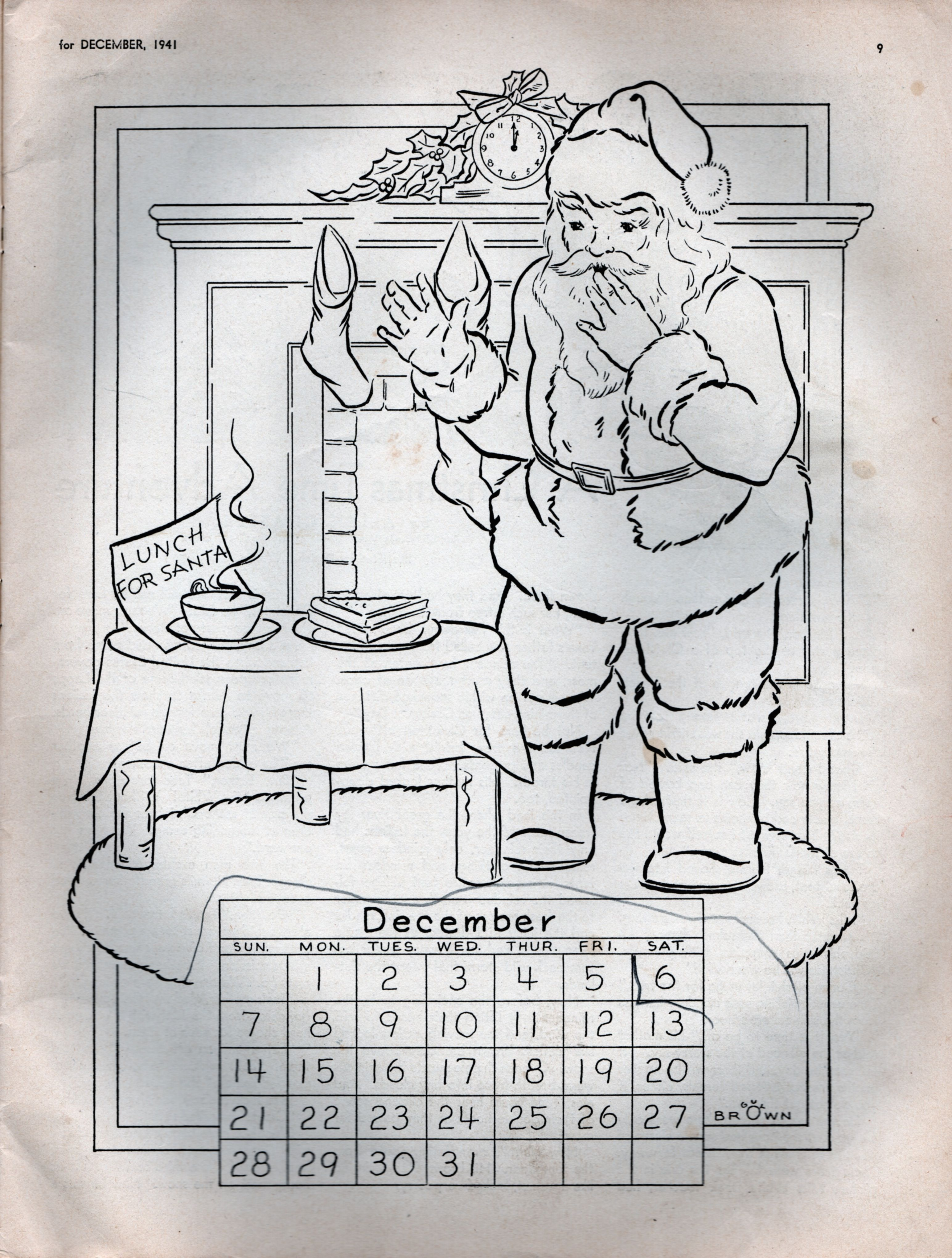 December Calendar Art : December calendar to color by guy brown from the december