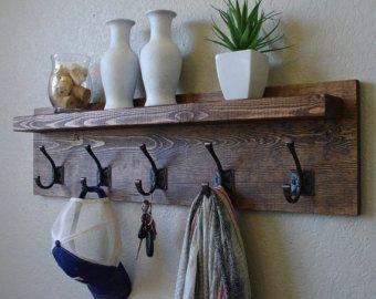 corvallis coat rack with floating shelf by keodecor on etsy