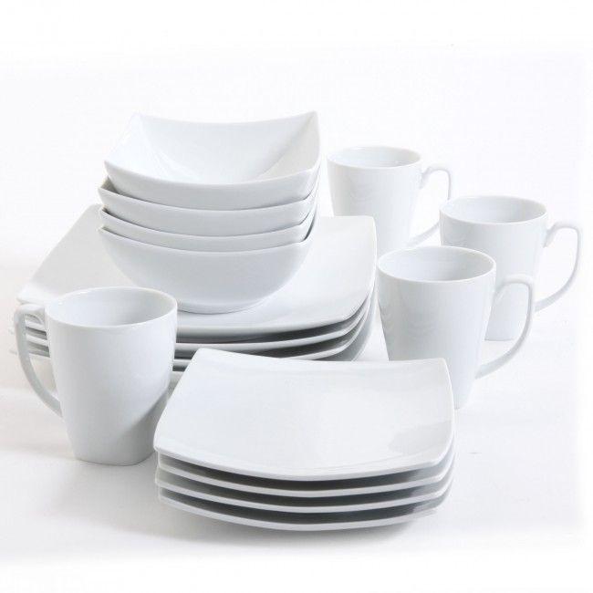 Monarch White Square Dinnerware Set Dinnerware Sets Square