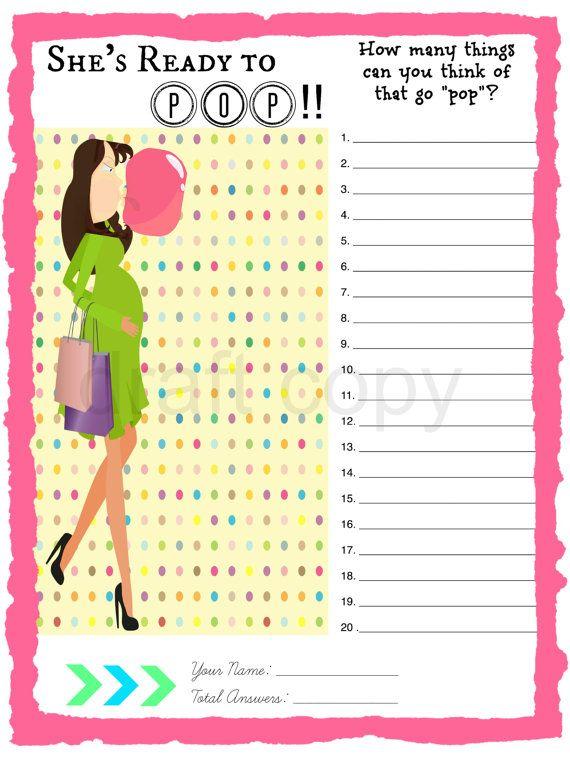 Baby Shower Imprimible Juego Ella Est Lista Para Pop Qu Est