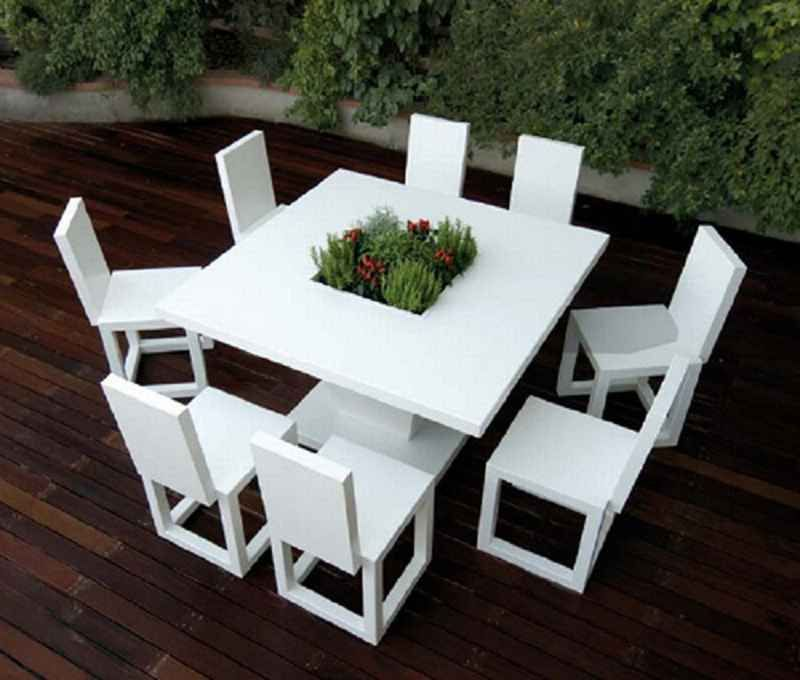 Exterior ~ Exterior Minimalist White Outdoor Dining Table Set Cool .