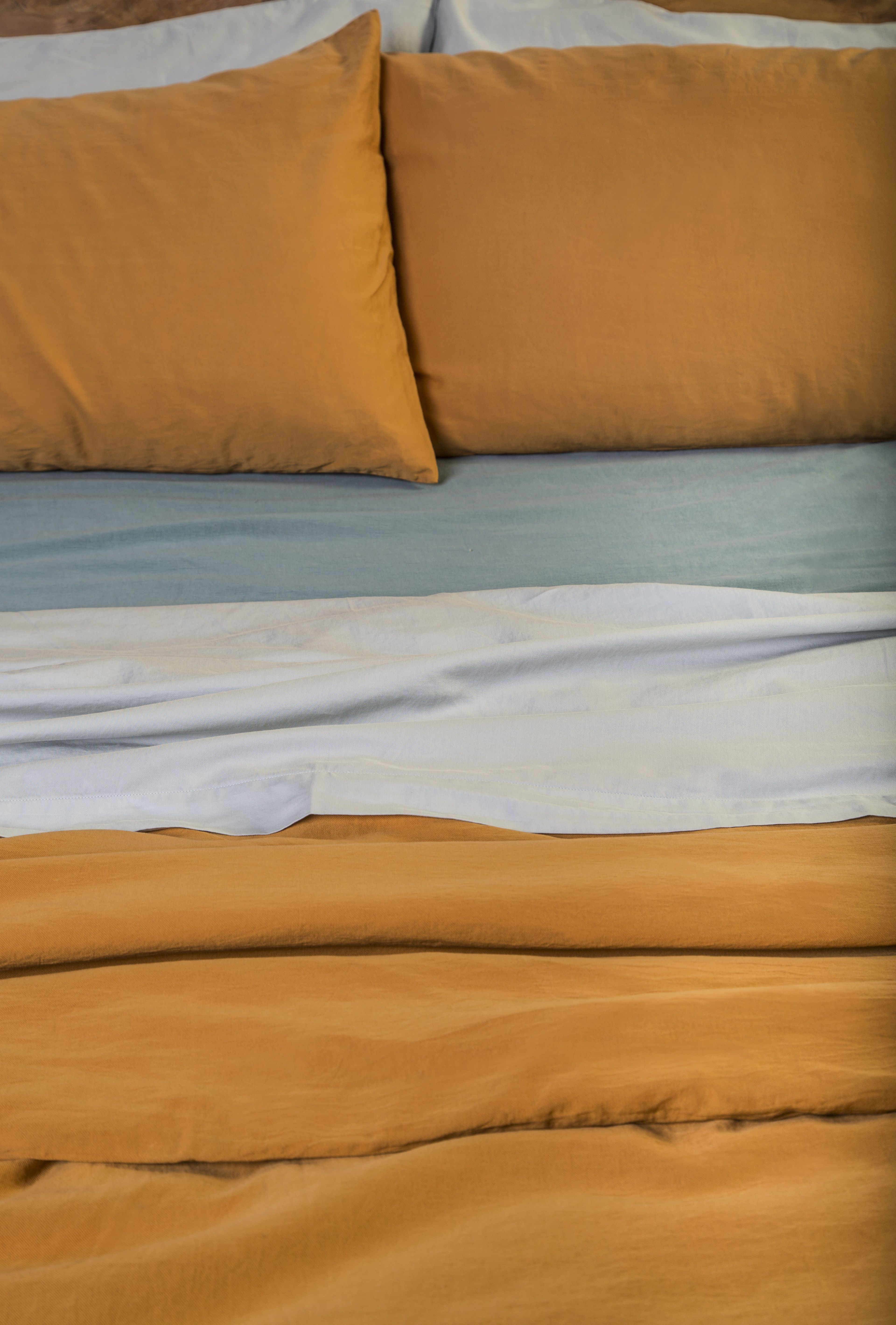 Duvet cover: Curry  Sheets:  Nuvola & Cielo  Pillow case: Curry & Nuvola