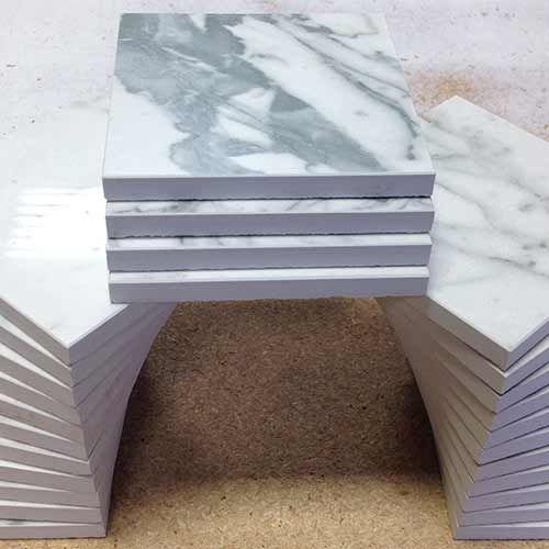 Custom cut downs for every tile - such as these beautiful micro beveled 4x4s from 24x24 field tiles.
