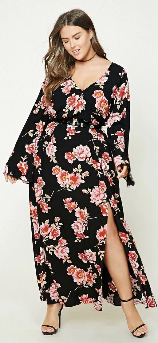 Plus Size Floral Maxi Dress Floral Maxi Dress Long Floral Maxi Dress Maxi Dress With Sleeves