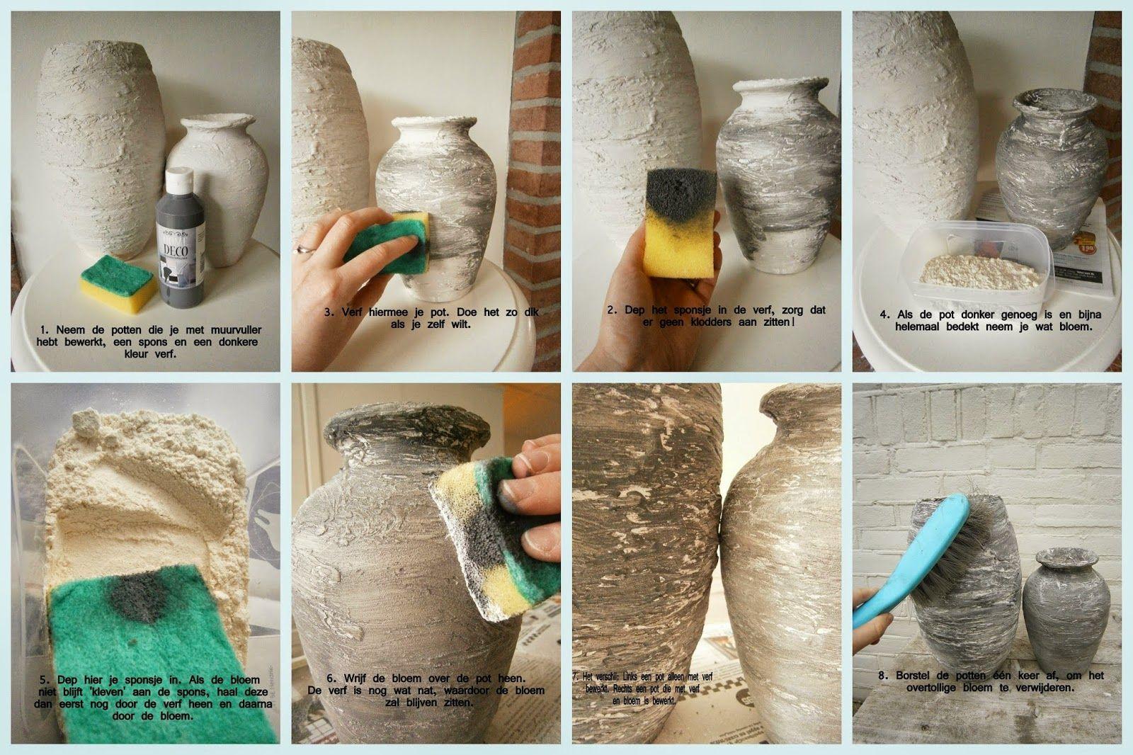 Wonderlijk De betonlook: potten bewerkt met muurvuller (2) | Doe het zelf en ES-85