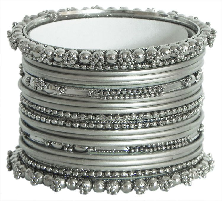 Oxidised Silver Color Churi Metal Shining Silver In 2018