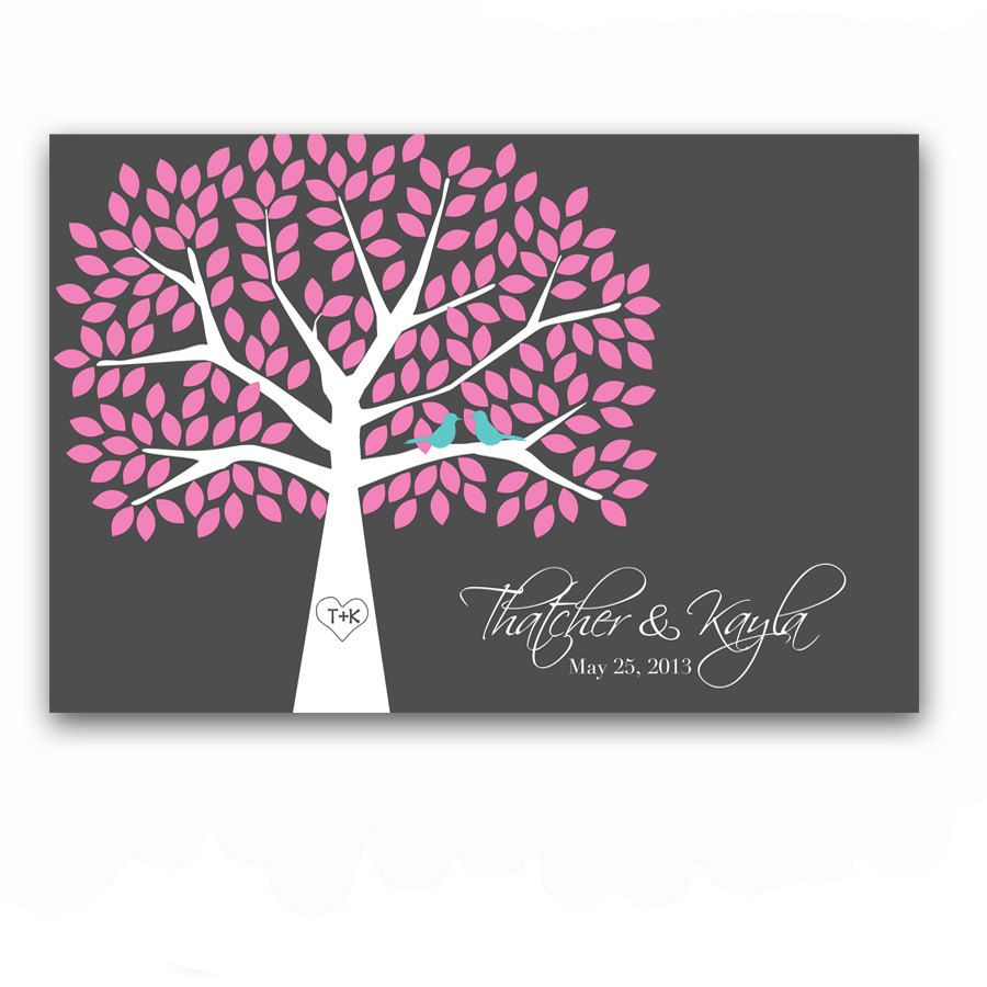 Guestbook Tree Unique Guest Book Alternative for 175 Guest Signature Tree Wedding Guestbook Poster Pink and Gray Guest Book Poster. $64.00, via Etsy.