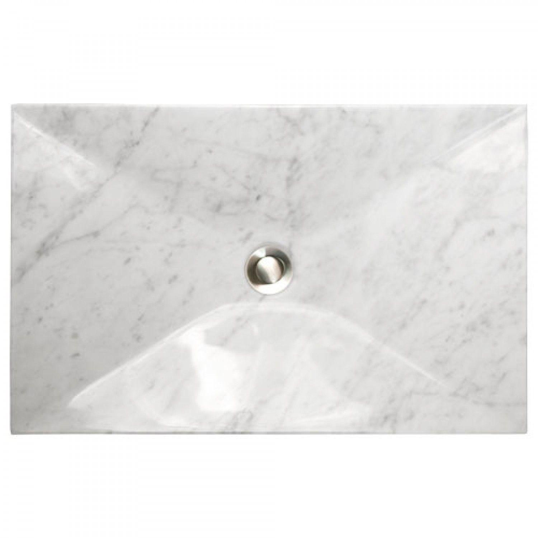 Angled Polished Carrara Marble Vessel Sink   Bathroom Sinks   21 X 13