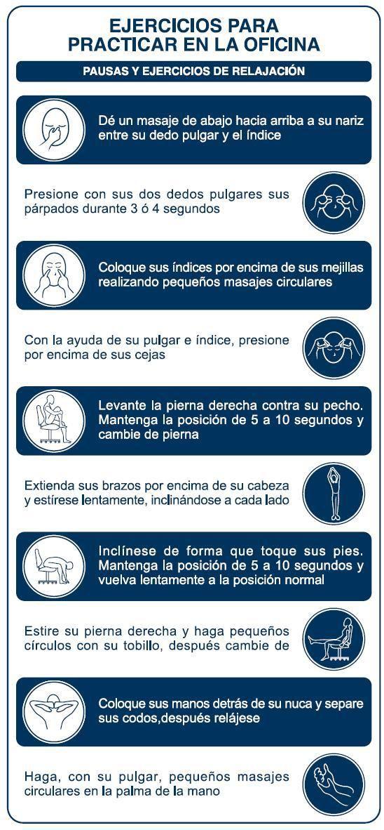 Ejercicios de relajación para la oficina  infografia  infographic  health  5b7832ba99ee