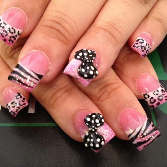 Animal print cheetah zebra pink black glitter 3d bow nails animal print cheetah zebra pink black glitter 3d bow nails prinsesfo Image collections