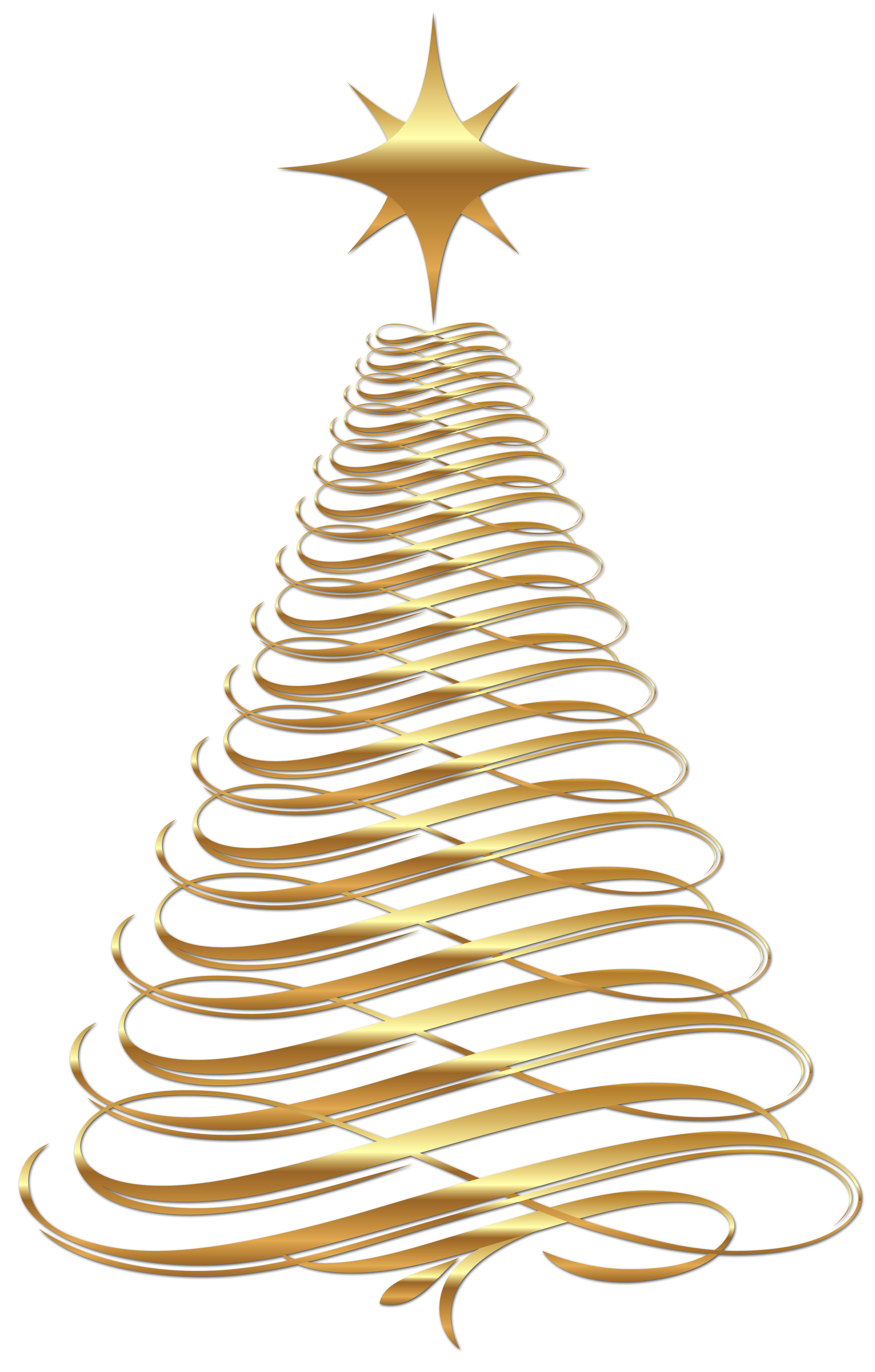 Large Transparent Christmas Gold Tree Clipart Gallery