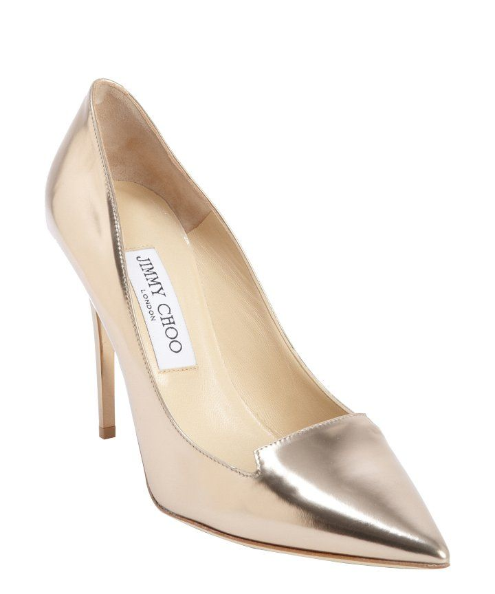7a8d93b7b12f Rose gold patent pumps from Jimmy Choo.