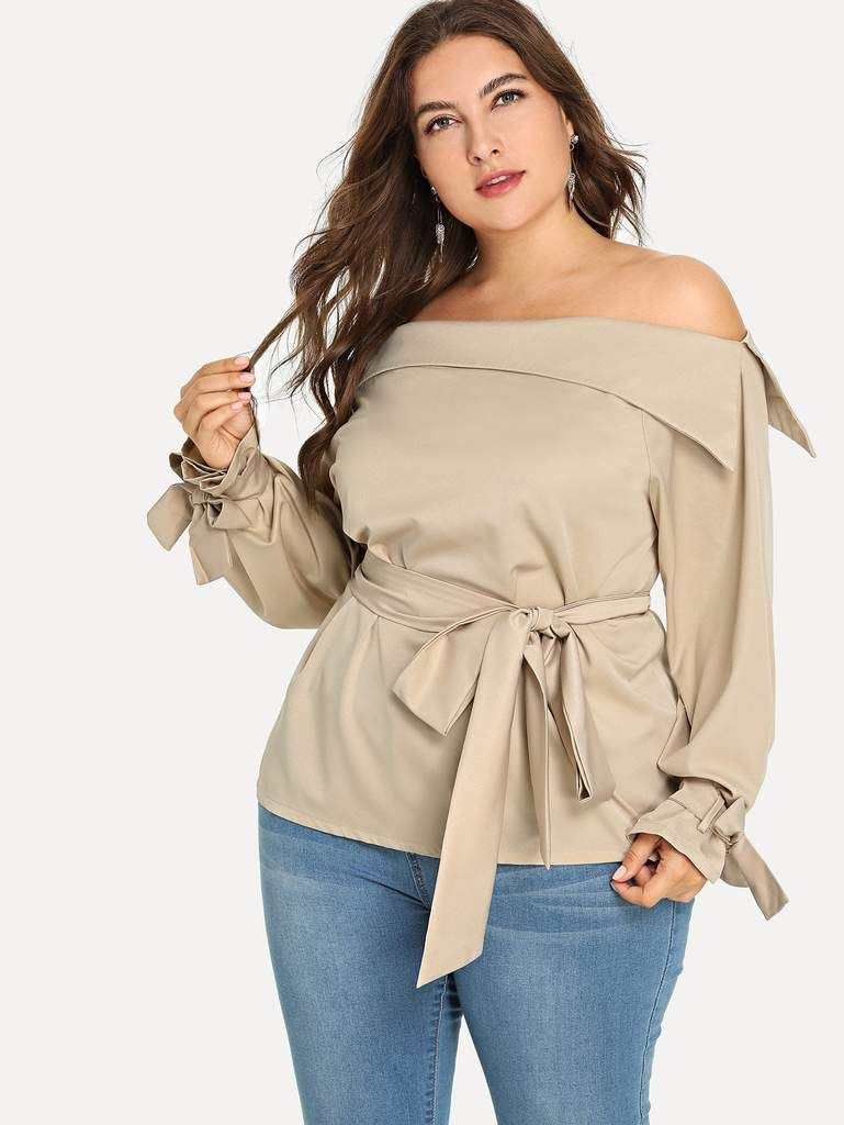 Plus Fold Over Shoulder Blouse In 2018 Fall Fashion Pinterest