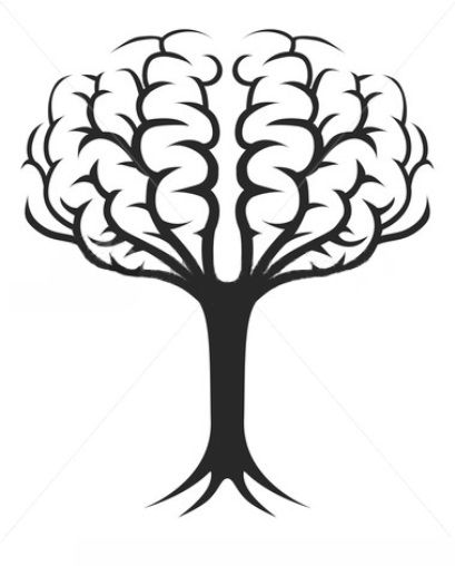 Illustration of a tree growing in the shape of a brain
