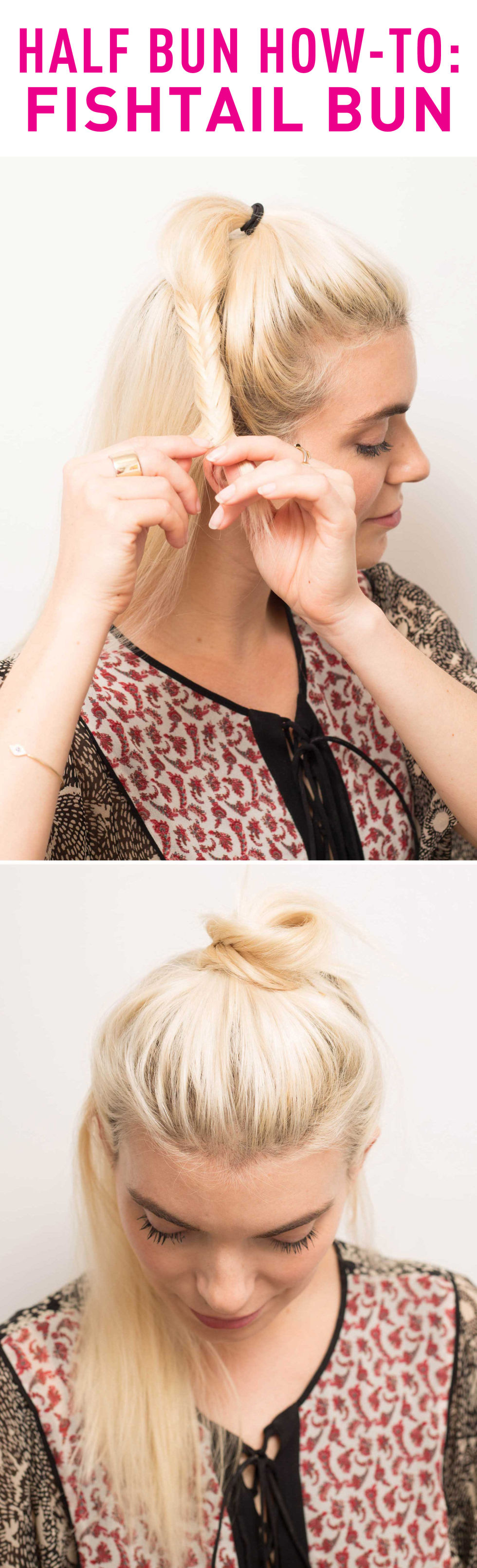 How to create a half up fishtail bun
