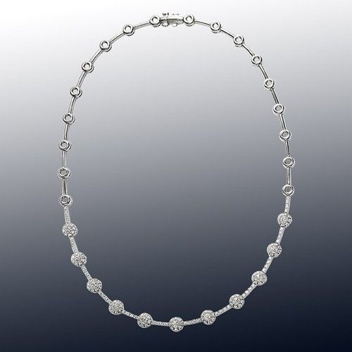 DIAMOND NECKLACE STYLE ID: 11949   #nycwdiamonds  —-Elegant Diamond Necklace in 18kt white gold.  —-Round Brilliant Diamonds total carat weight 3.25cts—-