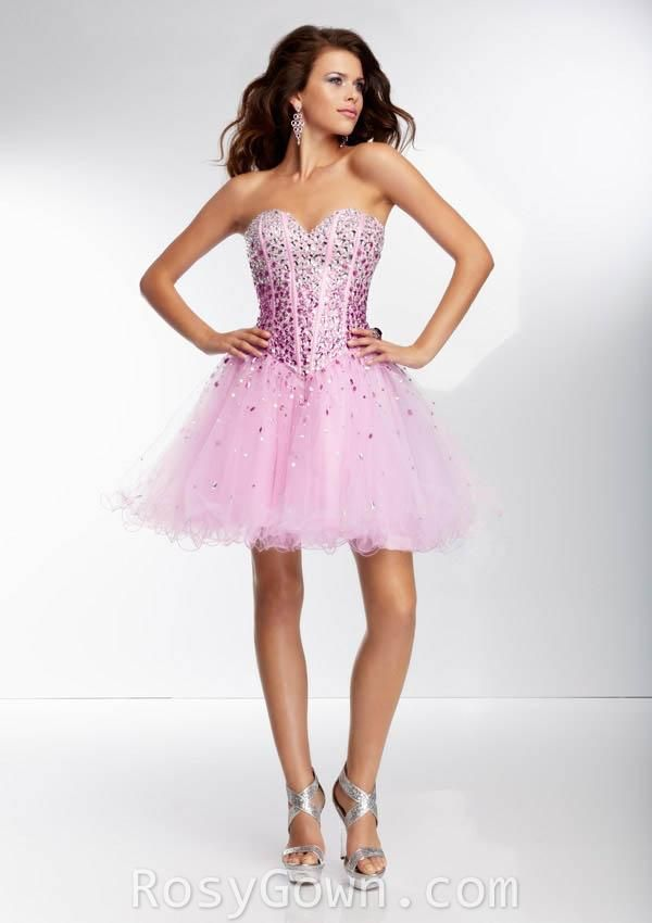 short strapless sweetheart light purple ombre beaded tulle prom ...