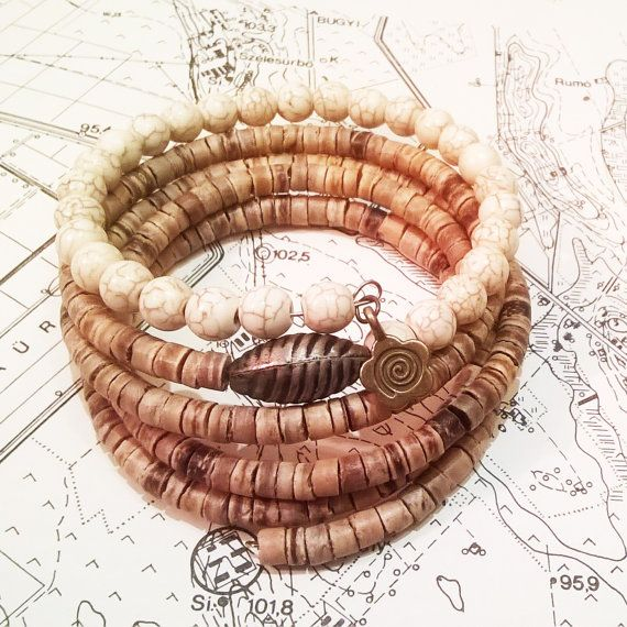 Coconut ans howlin beaded memory wire bracelet with by ArtKlarion