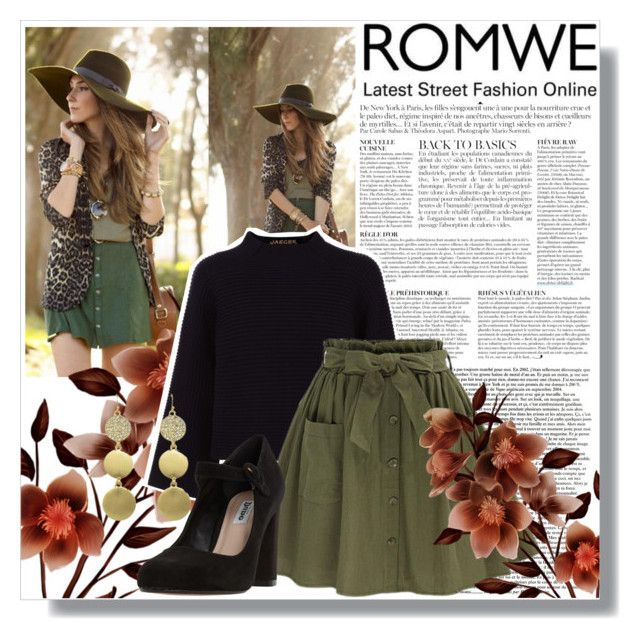 """""""ROMWE Olive Green Skirt"""" by emerald-writer-girl ❤ liked on Polyvore featuring Anja, Jaeger and Dune"""