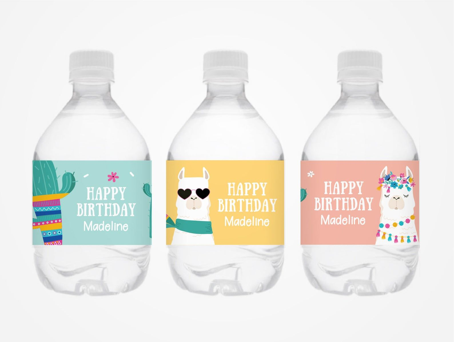 Llama Party Water Bottle Labels Instant Template Download Water Party Bottle Labels Mini Water Bottles Mini water bottle label template