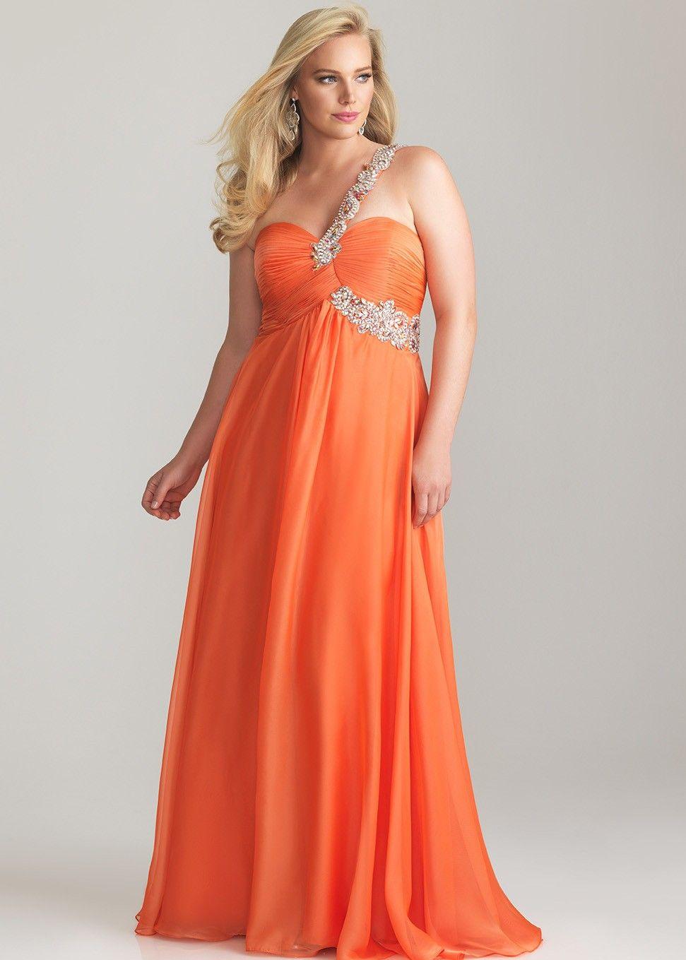 Front view of orange evening dresses plus size plus