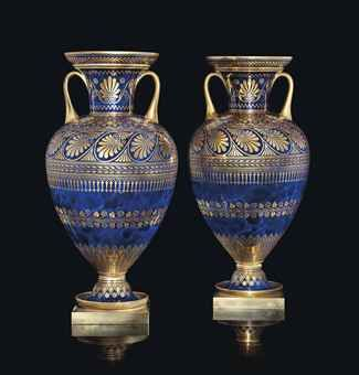 A PAIR OF SEVRES ORMOLU-MOUNTED MARBLED COBALT-BLUE GROUND VASES (VASES ETRUSQUE TURPIN)  CIRCA 1841, BLUE PRINTED CROWNED MONOGRAM MARKS WITH INDISTINCT DATE CODE FOR 1841